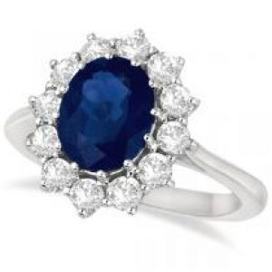 Allurez Oval Blue Sapphire & Diamond Accented Ring 14k White Gold ring.jpg