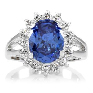 Emitations Inspired Kate Middleton Princess Diana Ring - Silver Tone - Light Sapphire.jpg