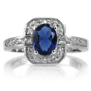 Emitations Meena CZ Blue Antique Sapphire Ring- 925 Sterling Silver.jpg