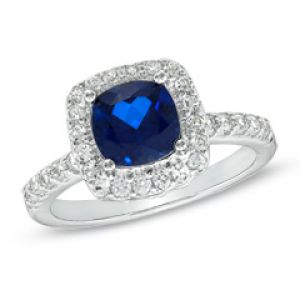 GORDONS 7.0mm Cushion-Cut Lab-Created Blue and White Sapphire Ring in Sterling Silver.jpg