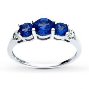 Jared Lab-Created Sapphire Ring Diamond Accents 10K White Gold- Sapphire.jpg
