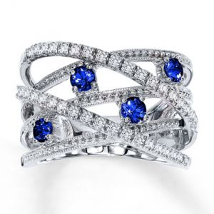 Jared Natural Blue Sapphire Ring unusual Diamond 10K White Gold- Sapphire.jpg