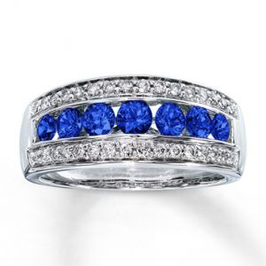 Jared Natural Sapphire Ring Round-cut with Diamonds 14K White Gold- Sapphire.jpg
