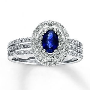 Jared Natural Sapphire Ring beautiful Diamonds 14K White Gold- Gemstone.jpg