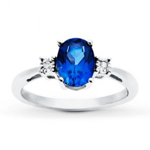 Jared The Galleria of Jewelry Lab-Created Sapphire Ring Diamond Accents 10K White Gold- Sapphire.jpg