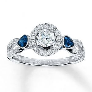 Kay Jewelers Diamond Sapphire Ring Round-cut 14K White Gold - Engagement Rings.jpg