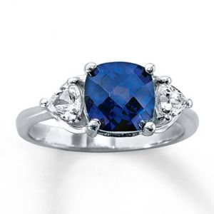 Kay Jewelers Lab-Created Sapphire Ring Cushion-cut Sterling Silver- Sapphire.jpg
