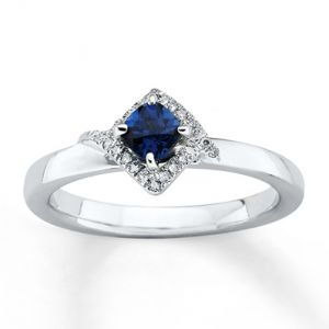 Kay Jewelers Lab-Created Sapphire Ring Diamonds Sterling Silver- Sapphire.jpg