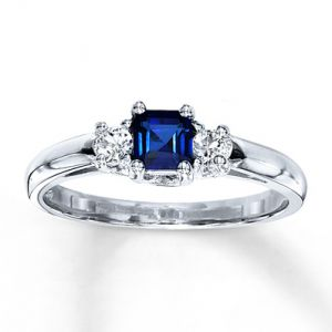 Kay Jewelers Lab-Created Sapphire Ring Square-cut 10K White Gold- Sapphire.jpg