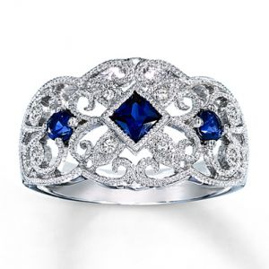 Kay Jewelers Lab-Created Sapphire Ring With Diamond Accents Sterling Silver- Sapphire.jpg