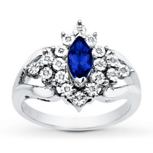 Kay Jewelers Lab-Created Sapphire Ring unusual style Diamonds Sterling Silver- Sapphire.jpg