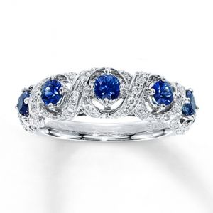 Kay Jewelers Natural Sapphire Ring  tw Diamonds 10K White Gold- Gemstone.jpg