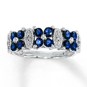 Kay Jewelers Natural Sapphire Ring Diamond Accents 10K White Gold- Gemstone.jpg