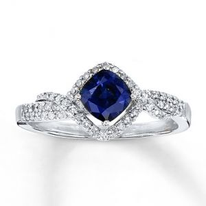 Kay Jewelers Natural Sapphire Ring with Diamonds 14K White Gold- Sapphire.jpg