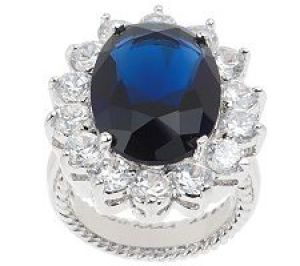 Kenneth Jay Lane As Is KJL Princess Simulated Sapphire Ring.jpg