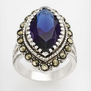 Kohls Silver Tone Marcasite And Simulated Sapphire Ring.jpg