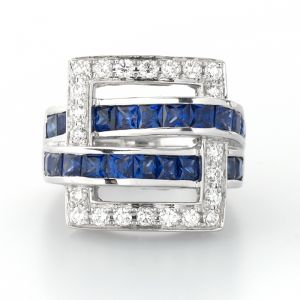 Midas Jewellers 18ct White Gold Diamond and Blue Sapphire Ring.jpg