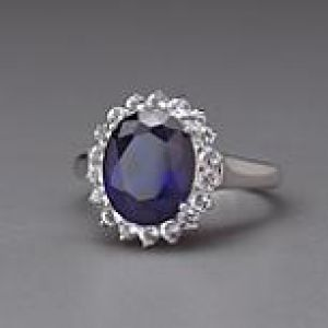 Sterling Silver Royal Blue Sapphire CZ & White Topaz Ring by Lenox.jpg