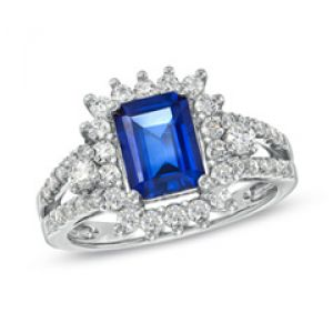 ZALES Emerald-Cut Lab-Created Blue and White Sapphire Ring in Sterling Silver.jpg