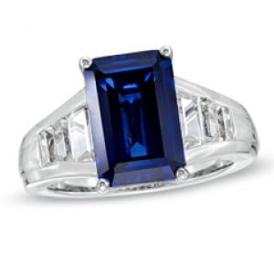 ZALES Emerald-Cut Lab-Created Ceylon and White Sapphire Ring in Sterling Silver.jpg