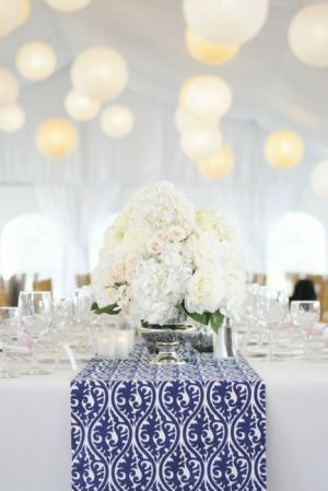 Centerpiece. Blue and White Theme party via mylusciouslife.jpg