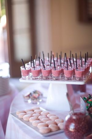 Strawberry smoothie shots and strawberry macarons via Luscious Life blog.jpg