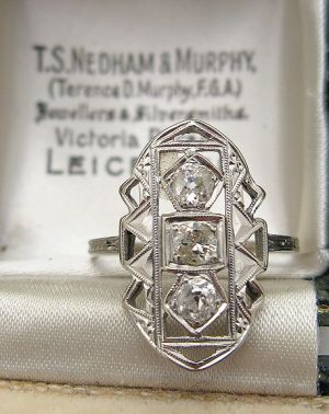 1920 s wedding theme - 1920s 14K White Gold Diamond Ring.jpg