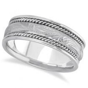Allurez Fancy Carved Vintage Wedding Ring For Men 14k White Gold.jpg
