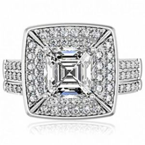 Fantasy Jewelry Box Annas Heirloom Style Grand Princess Cut CZ Wedding Set.jpg