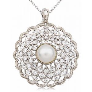 Joolwe Sterling Silver Pearl and Cubic Zirconia Flapper Girl Circle Pendant.jpg