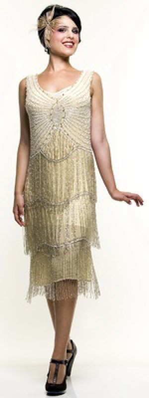 Krishma Ivory & Silver Beaded Fringe Reproduction Flapper Dress.jpg