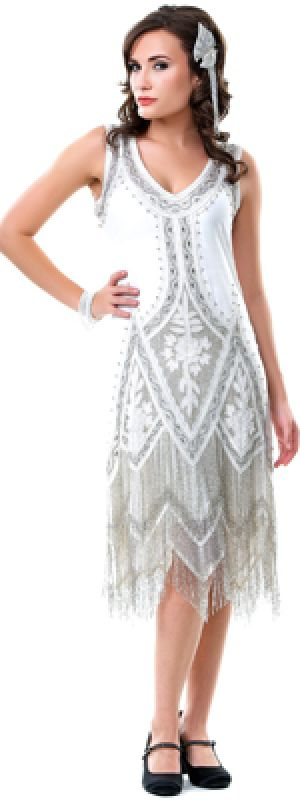 Liberty Exports Plus size Cream & Platinum Embroidered 20s Flapper Dress.jpg