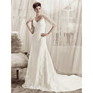 LightInTheBox A-line V-neck Court Train Lace Over Satin Wedding Dress.jpg
