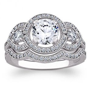 Limogesjewelry MAJESTIC MicroPave CZ Silver Vintage Wedding Ring Set.jpg