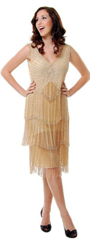 New Style Exports Nude & Silver Beaded Fringe Flapper Dress - S to XL.jpg