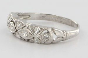 Portero Antique Art Deco Platinum Diamond Wedding Band Ring.jpg