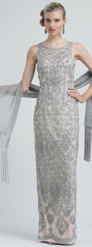 Sue Wong Platinum Embroidered Illusion Tank Style Long Flapper Prom Gown.jpg