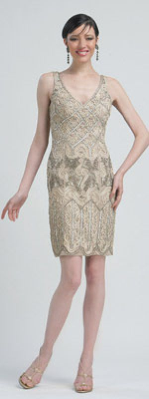 Sue Wong Taupe Beaded Embroidered Tank Flapper Cocktail Dress.jpg