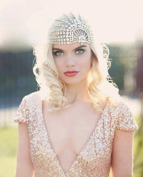 1920s bridal hair - willowmoone 1920s wedding headpiece lace white bling.jpg