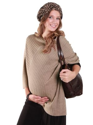 Angel Maternity Angel Maternity Wool Poncho in Camel.jpg
