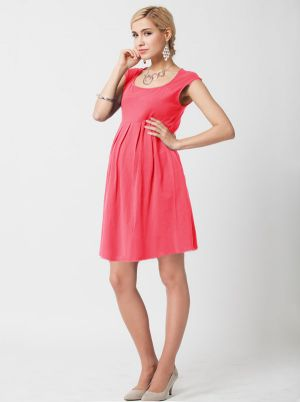 Angel Maternity Cotton Cap Sleeve Maternity Dress in Deep Pink.jpg
