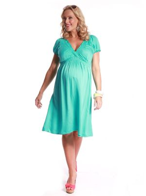 Angel Maternity Little Cross Over Maternity Summer Dress in Light Jade.jpg