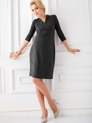 Angel Maternity Maternity Dress in little V-neck line - Midnight Black.jpg