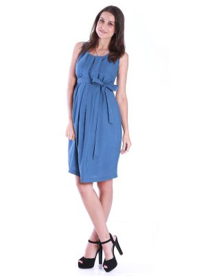 Angel Maternity Maternity Dress with Tuck Front in Blissful Blue.jpg