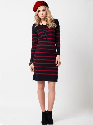 Angel Maternity Maternity Knit Dress in Merino Wool - Flame Stripe.jpg