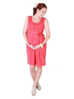 Angel Maternity Maternity Little Dress with Tuck Front in Melon.jpg