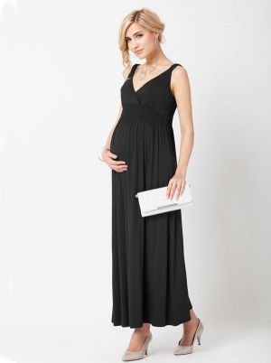Angel Maternity Maternity Maxi Dress in Black.jpg