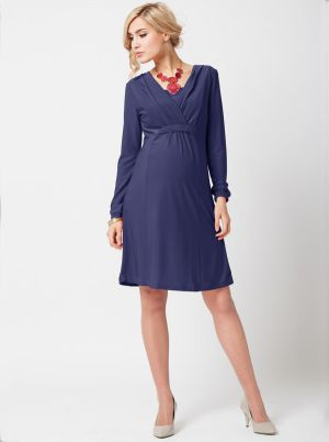 Angel Maternity Maternity Nursing Dress in Cross Over Neckline- Navy.jpg