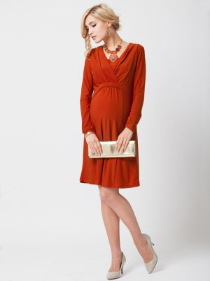 Angel Maternity Maternity Nursing Dress in Cross Over Neckline- Rust.jpg