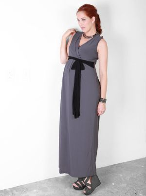 Angel Maternity Maternity Nursing Evening Dress in New York Charcoal.jpg